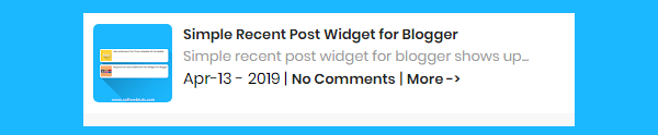Simple Recent Post Widget for Blogger