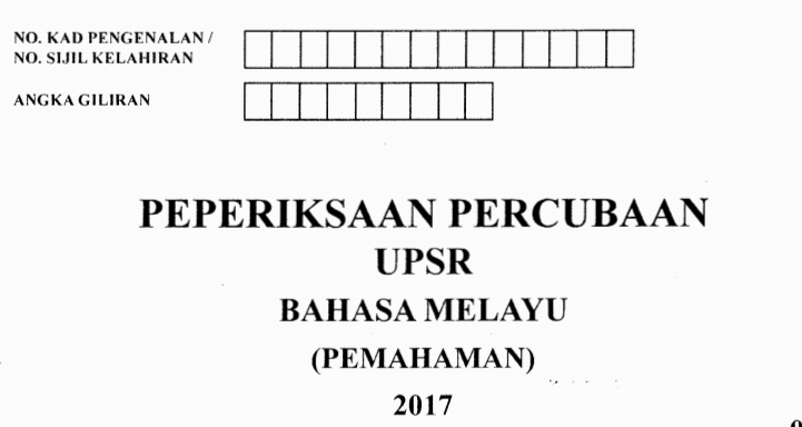 Kertas Soalan Percubaan Upsr 2017 Random Negeri My School