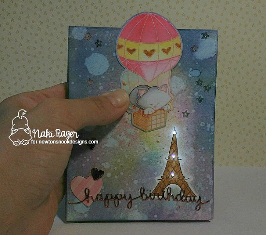 Paris scene light up card by Naki Rager | Newton Dreams of Pais Stamp set by Newton's Nook Designs with Chibitronics lights | #newtonsnook #chibitronics