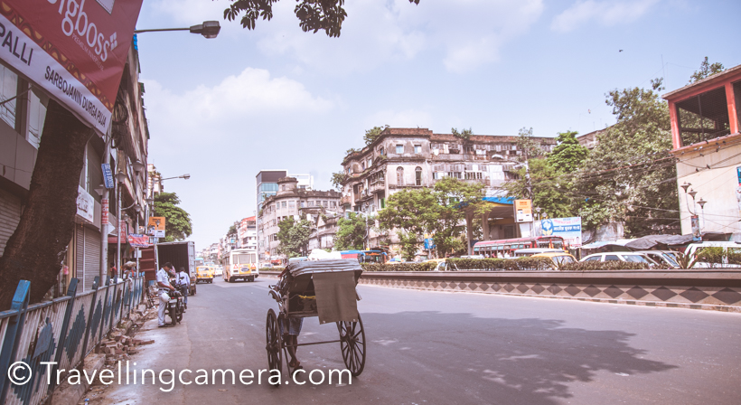 These hand pulled rickshaws can be seen narrow streets  as well as wider roads around North & South Kolkata.