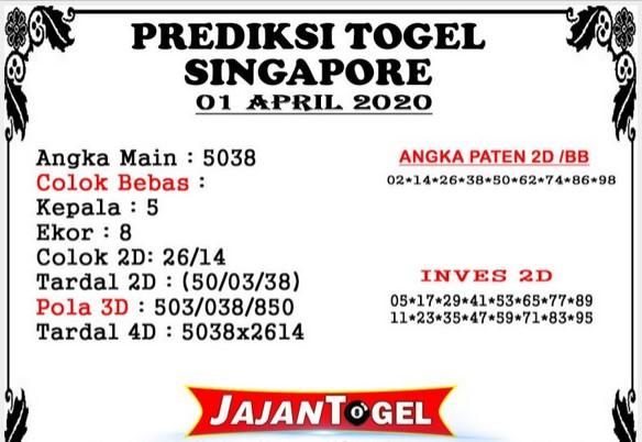 Prediksi SGP Rabu 01 April 2020 - Prediksi Jajan Togel