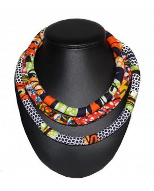 Colliers africains réalisés en wax : Beauté, mode, tendance, collier, wax, tissu, pagne, femme, noire, bouton, bois, corde, multi, couches, couleurs, LEUKSENEGAL, Dakar, Sénégal, Afrique