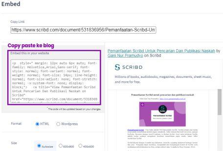 Embeded dokumen Scribd di Blog