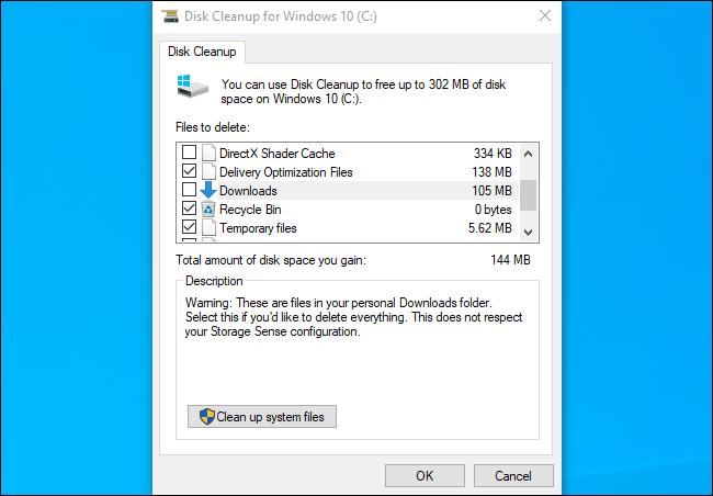 يُظهر تنظيف القرص مجلد التنزيلات على تحديث Windows 10 لشهر نوفمبر 2019.