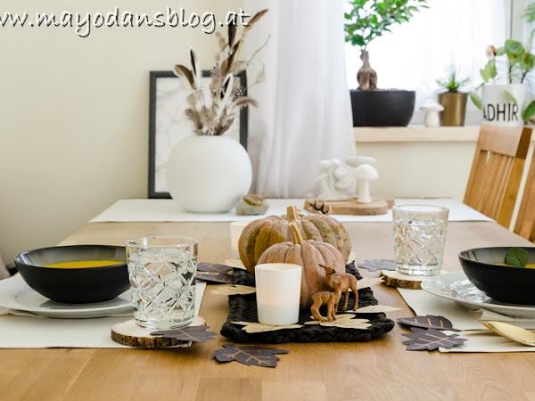 Tischdeko im Herbst und Kürbissuppenliebe mit meinem Lieblingsrezept zum Nachkochen