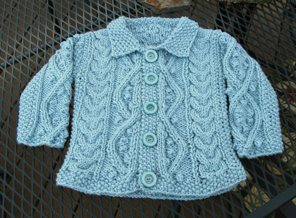 Bead Knitter Gallery Baby Aran Cardigan In Aquarium Blue