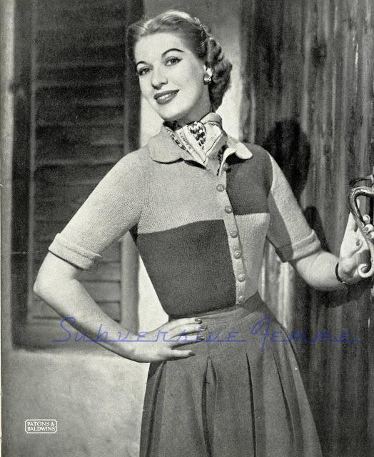 The Vintage Pattern Files: Free 1950's Knitting Pattern - Carnaval Cardigan