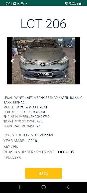 Kereta Toyota Vios (2016) kena lelong pada harga Reserved Price RM35000
