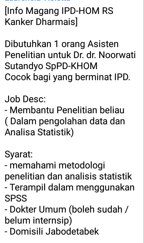 [Info Magang IPD-HOM RS Kanker Dharmais]    Dibutuhkan 1 orang Asisten Penelitian untuk Dr. dr. Noorwati Sutandyo SpPD-KHOM