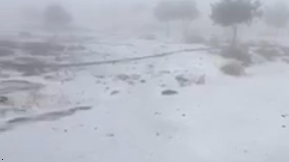 الثلوج تتساقط في جبل جيس