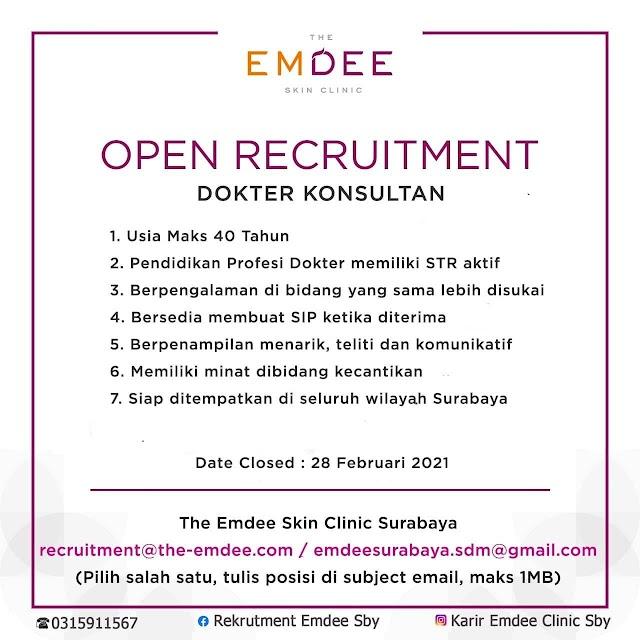 """Loker Dokter """"The Emdee Scin Klinik Surabaya"""""""