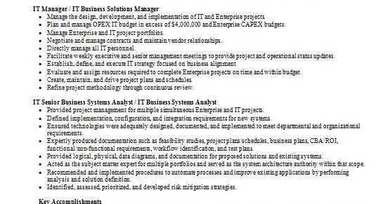It Business Solutions Manager Sample Resume Format In Word