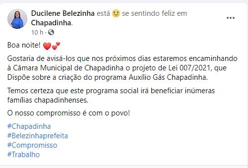 Prefeita Belezinha vai criar projeto social, Auxílio Gás Chapadinha, para famílias carentes do município.