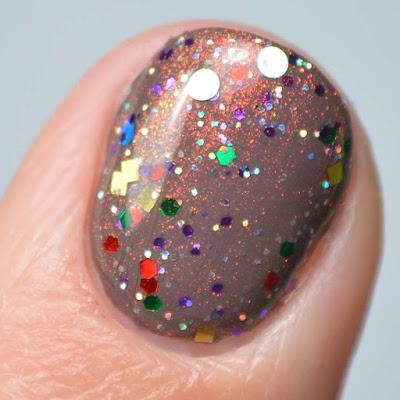 holiday glitter nail polish swatch close up
