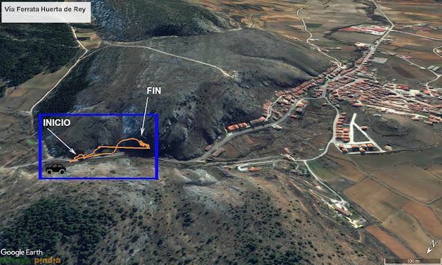 Mapa de la vía ferrata Huerta de Rey
