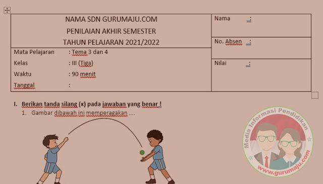 Soal UAS / PAS PJOK Kelas 3 Semester 1 K13