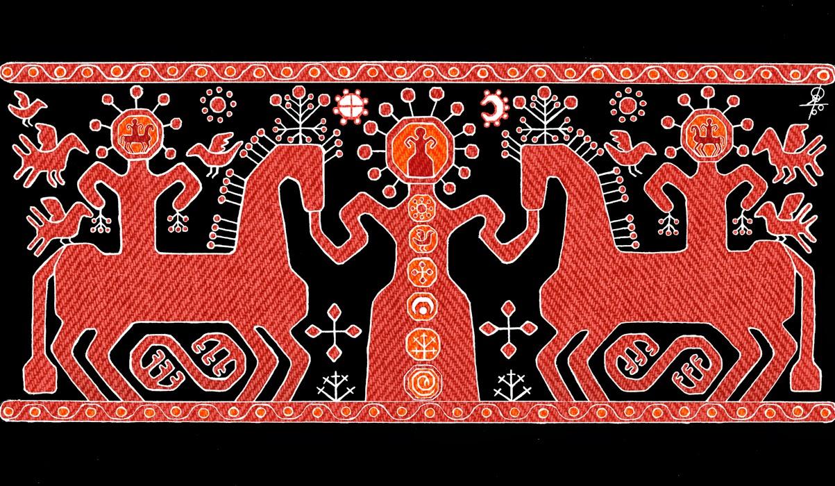 трехчастная композиция в вышивке