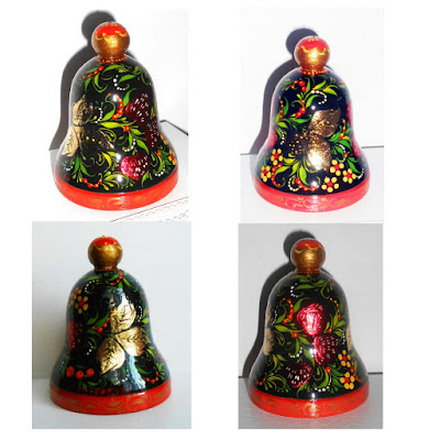Wooden bell painted in the Russian style Khokhloma in handmade