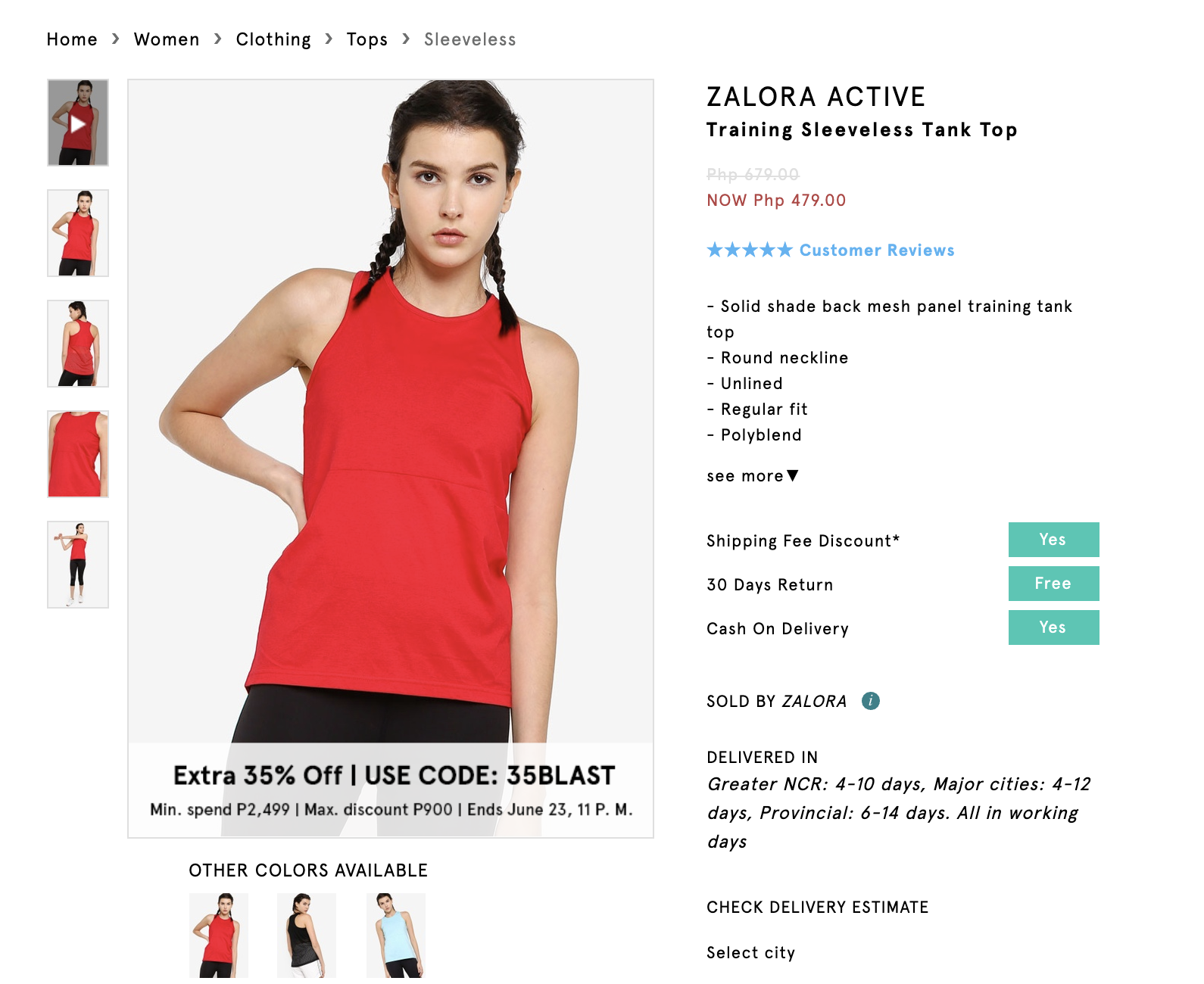 Screenshot of Zalora Active Training Sleeveless Tank Top