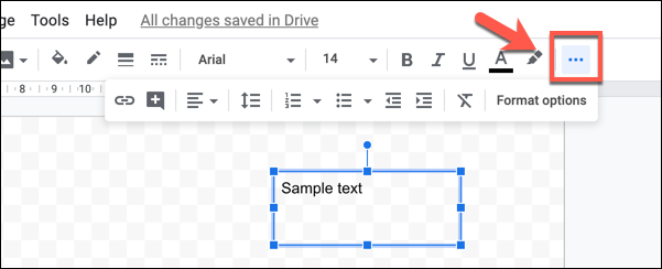 """اضغط على زر """"المزيد"""" ثلاثي النقاط لعرض جميع خيارات تنسيق النص في رسومات Google"""