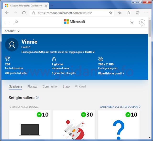 Microsoft Rewards dashboard utente con riepilogo punti