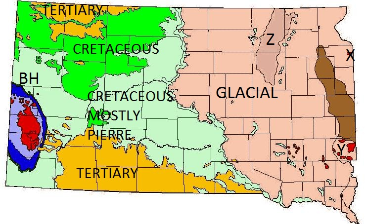 Map of South Dakota - Geology