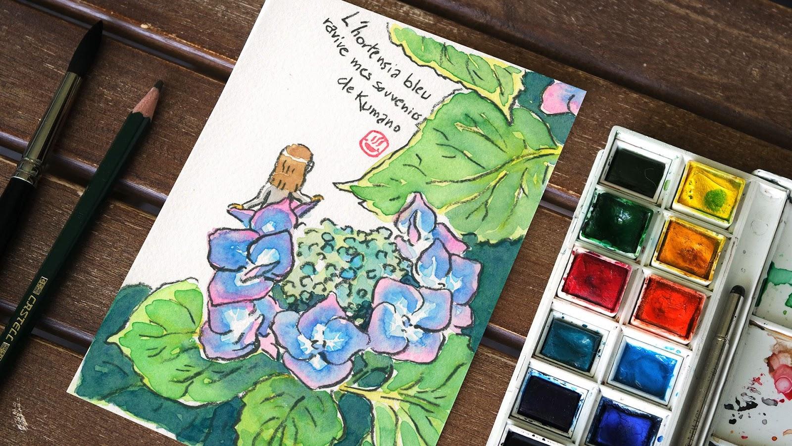 Watercolor vegetal Etegami