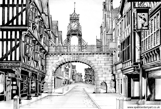 Eastgate Clock, Chester Ink Drawing
