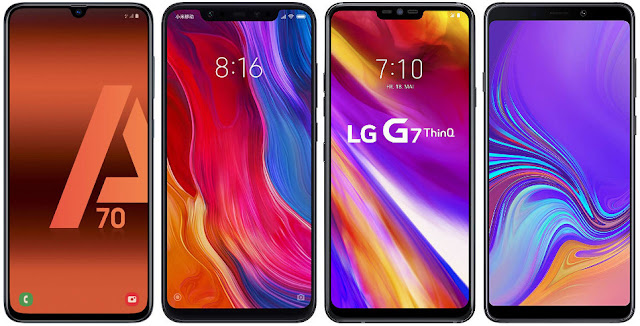 Samsung Galaxy A70 vs Xiaomi Mi 8 64G vs LG G7 ThinQ vs Samsung Galaxy A9 (2018)