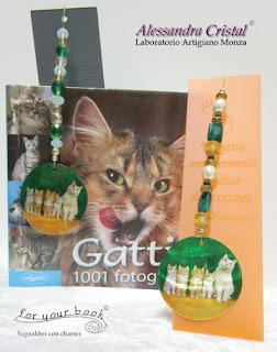 segnalibro inciso ciondolo madreperla gatti gatto