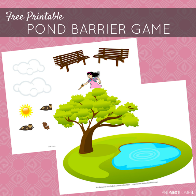 Free printable pond themed barrier game for kids from And Next Comes L