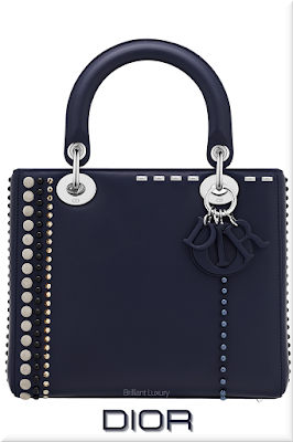 ♦Dior Lady Dior navy blue top handle calfskin bag with pearls and studs #dior #bags #ladydior #brilliantluxury