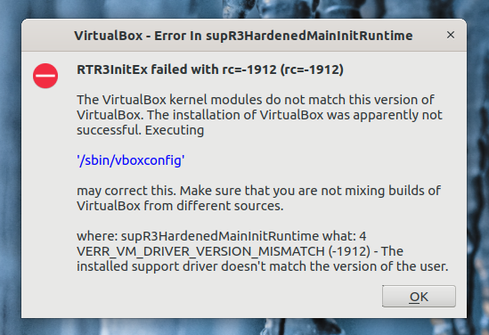 VirtualBox driver error