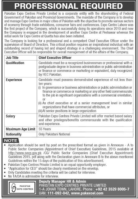 Chief Executive Officer CEO Job 2021 in Lahore