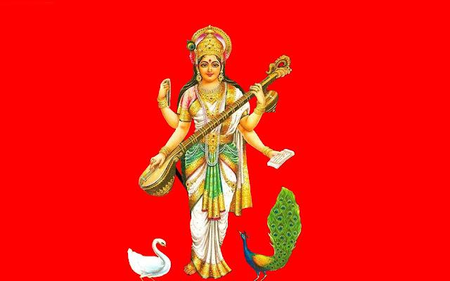 Best Maa Saraswati HD Wallpaper In Red Background