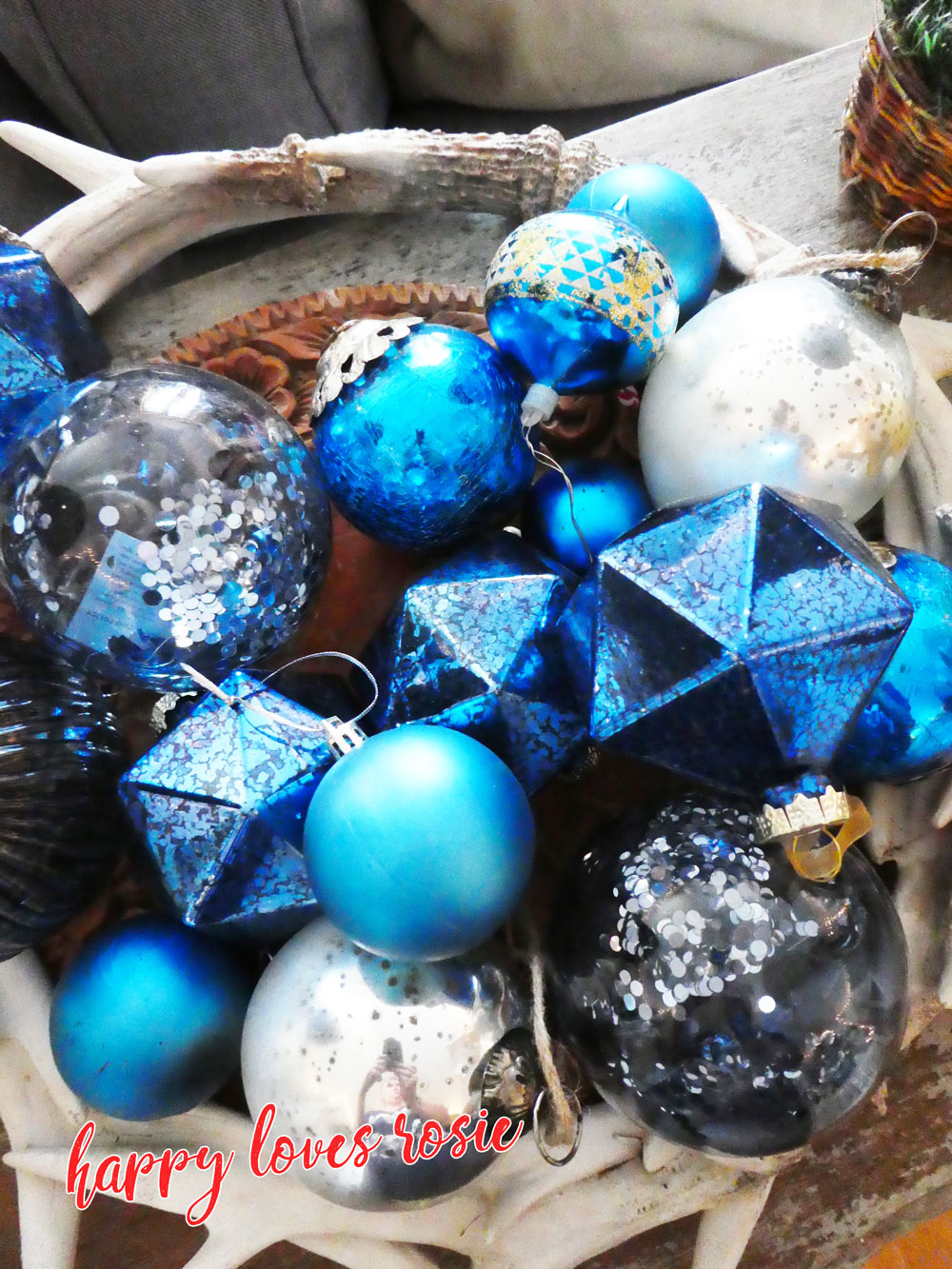 vintage and new blue baubles