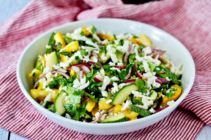 Summer squash Salad with Queso Fresco and pickled onions