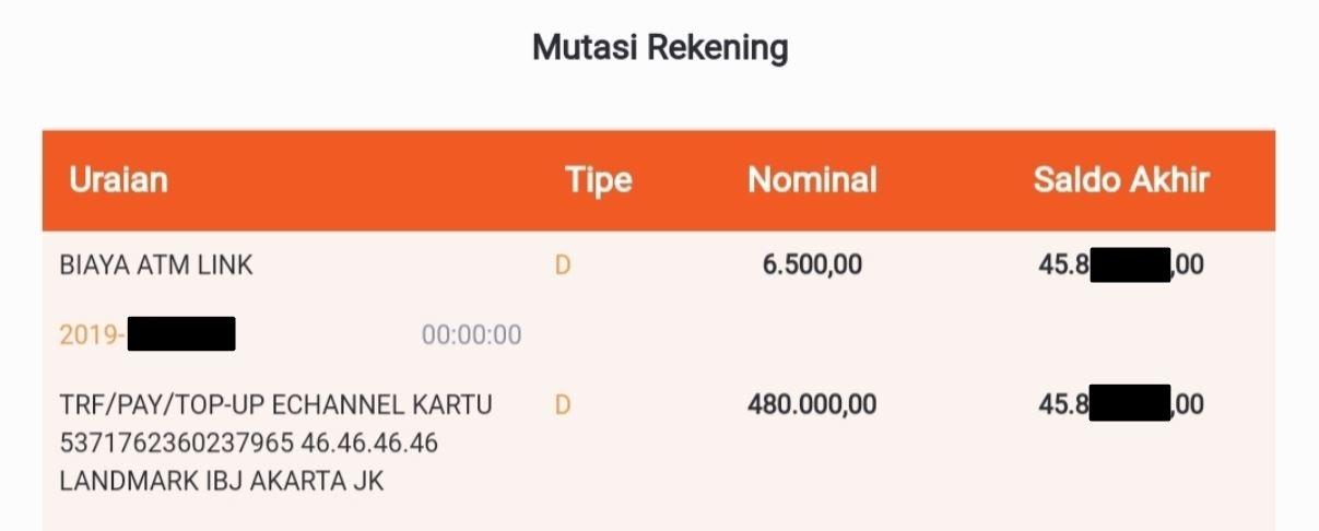 Tampilan rekening Landmark IBJ Jakarta