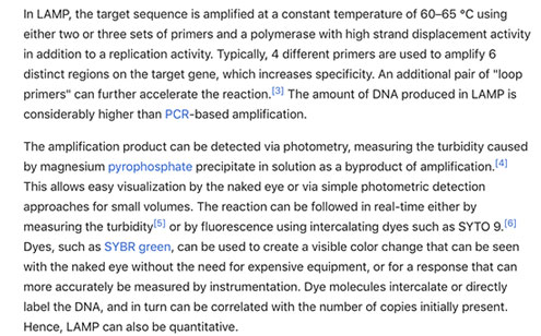 LAMP Technology delivers isothermal RNA/DNA amplification faster than thermo-cycling PCR (Source: Wikipedia)