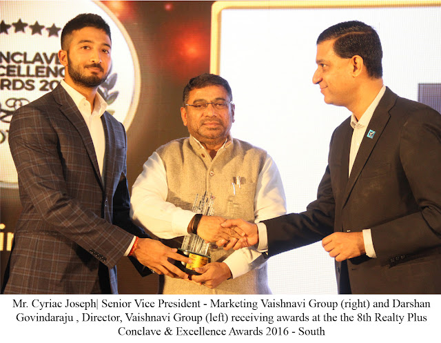 Vaishnavi Group recipient of awards in 3 coveted categories and the Scroll of Honour at the 8th Realty Plus Conclave & Excellence Awards 2016