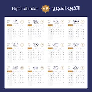 تقويم السنة الهجرية 2019