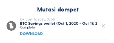 Cara Download Laporan Cashback Dompet Savings di Luno
