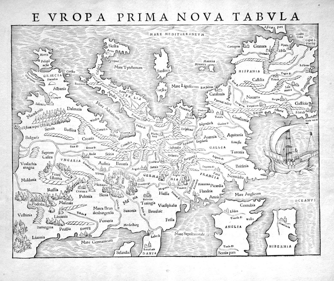 России нету, - карта Европы 16й век