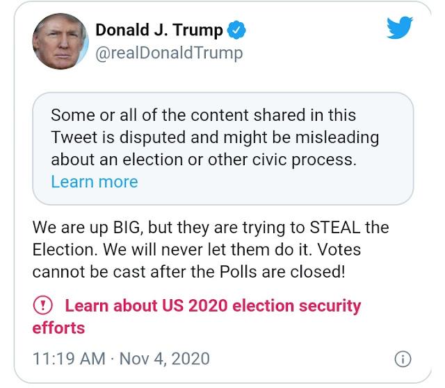 ट्विटर पर ट्रम्प के ट्वीट में डेमोक्रेट पर tweet चुनाव चुराने की कोशिश 'का आरोप है