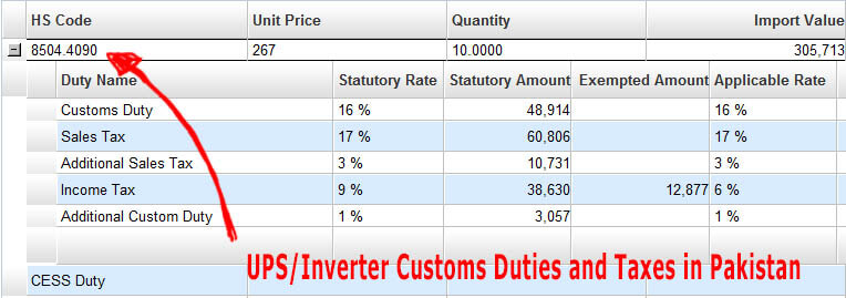 UPS-Inverter-Customs-Duties-and-Taxes-in-Pakistan