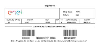 Imagem do Código de barras da 2 via Enel Goiás