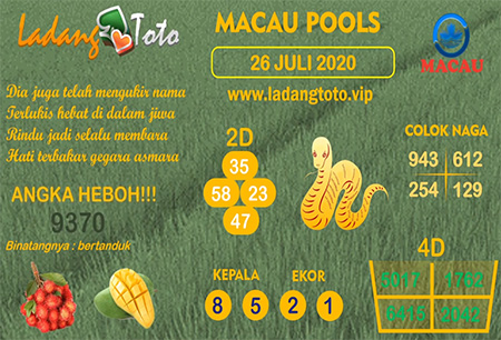 Prediksi Ladang Toto Macau Pools Minggu 26 Juli 2020