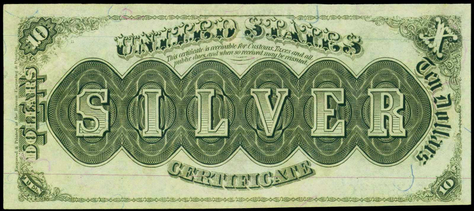 United States paper money large-size silver certificates 10 dollars bill