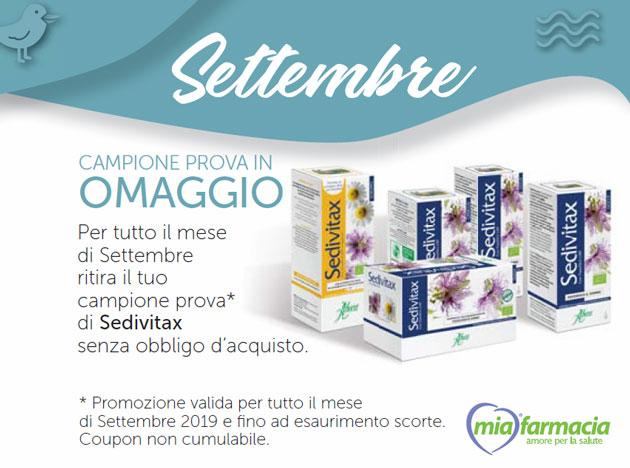 Sedivitax: campione gratis da Mia Farmacia (Coupon settembre  2019)