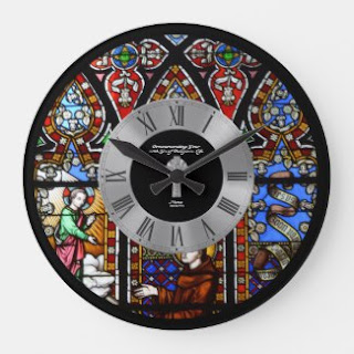 stained glass window effect wall clock Priest